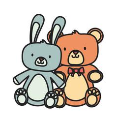 Kids toy teddy bear and cute rabbit toys vector