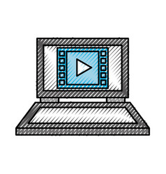 laptop computer movie play device technology vector image
