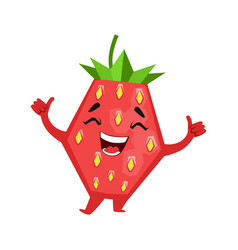 Laughing funny strawberry cute cartoon emoji vector