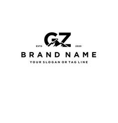 Letter gz mountain logo design vector