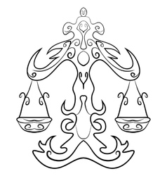 Libra tattoo ink sketch vector image