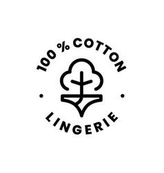 Lingerie 100 percent cotton underwear sign badge vector