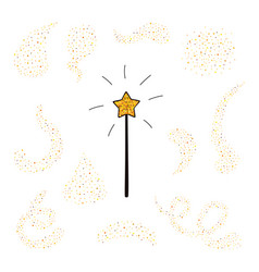 magic wand and gold dust set vector image
