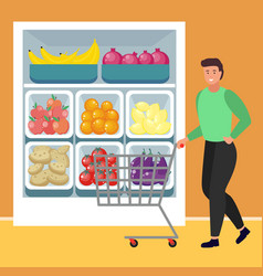 Man buying organic and fresh food from supermarket vector