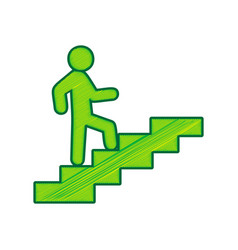 Man on stairs going up lemon scribble vector