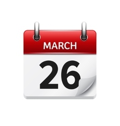 March 26 flat daily calendar icon Date vector