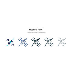 Meeting point icon in different style two vector