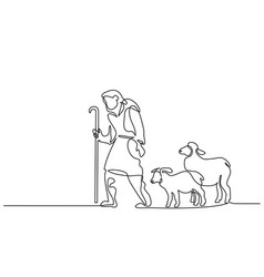 Merry christmas shepherd and sheeps one line drawn vector
