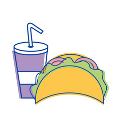 Mexican tacos with soda icon vector