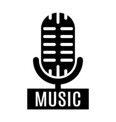 Minimalistic monochrome microphone logo vector image