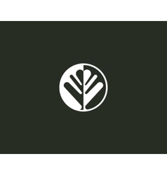 Negative space leaf shape Circle tree logo design vector