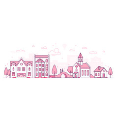 old town - modern thin line design style vector image