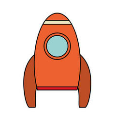 orange rocket space travel vector image
