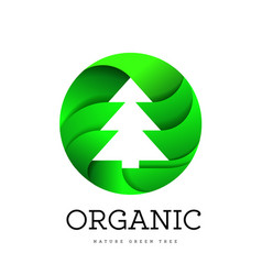 Organic tree spruce sign on a white background in vector