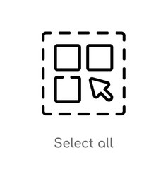 Outline select all icon isolated black simple vector
