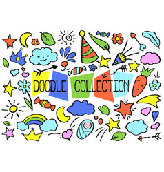 Outlined doodle set in bright color vector
