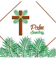 Palm sunday happy easter celebration vector