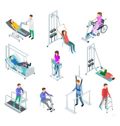 physiotherapy rehabilitation equipment patients vector image