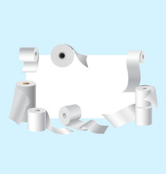 realistic toilet paper rolls frame with white vector image