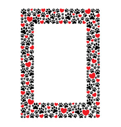 rectangular frame paw prints and hearts vector image