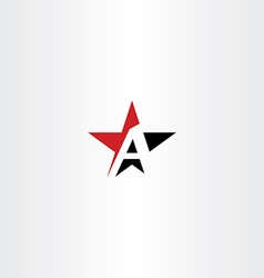 red black star letter a logo icon vector image