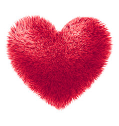red fur heart isolated on white background vector image