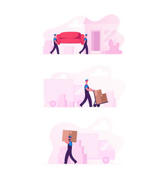 Relocation and moving into new house concept set vector