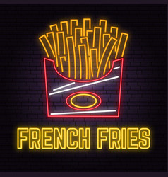retro neon french fries sign on brick wall vector image