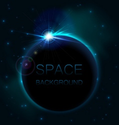 Rising sun over planet space background vector
