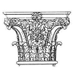 Roman corinthian capital found in the palaces of vector