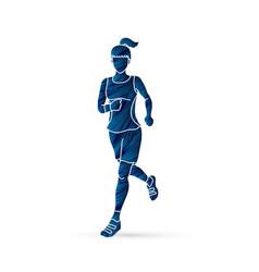 Running woman sport woman sprinter marathon vector