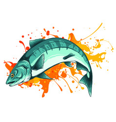salmon fish with color stain vector image