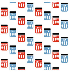 Seamless pattern with tea and coffee pots mid vector