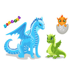set cute dragon character funny dragon vector image