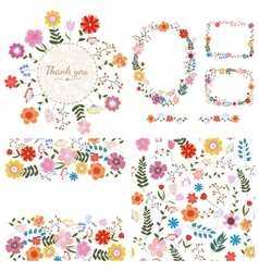 Set of floral backgrounds Spring and summer vector