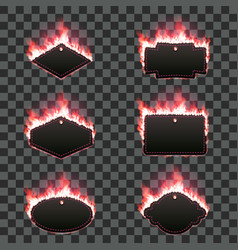 set of six frames surrounded with red flame vector image