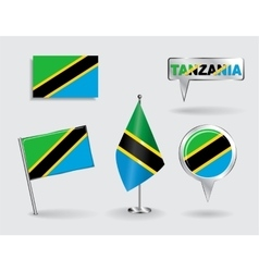 Set of Tanzanian pin icon and map pointer flags vector
