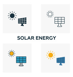 solar energy icon set four elements in diferent vector image