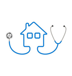 stethoscope in shape of house in blue design vector image
