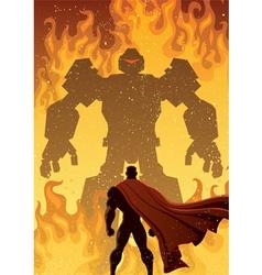Superhero Versus Robot vector