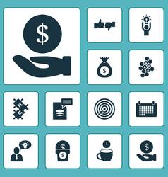 Team icons set with team honeycomb brilliant idea vector