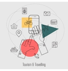 Tourism and Travelling Line Concept vector