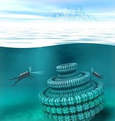 Underwater scenery vector