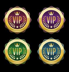 vip golden labels set premium medals different vector image