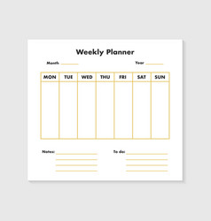 weekly planner list vector image
