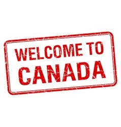 welcome to Canada red grunge square stamp vector image