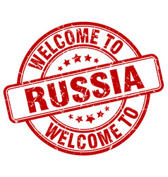 Welcome to russia red round vintage stamp vector
