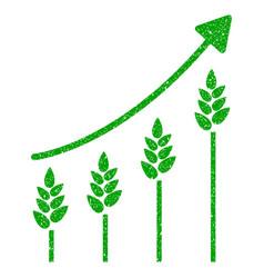 Wheat growing chart icon grunge watermark vector