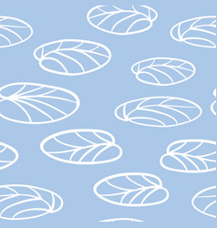 white water lily leaves on blue seamless vector image