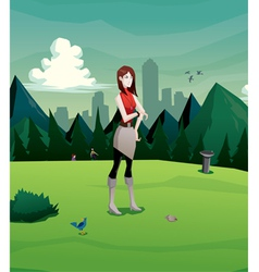 woman waiting in the park vector image